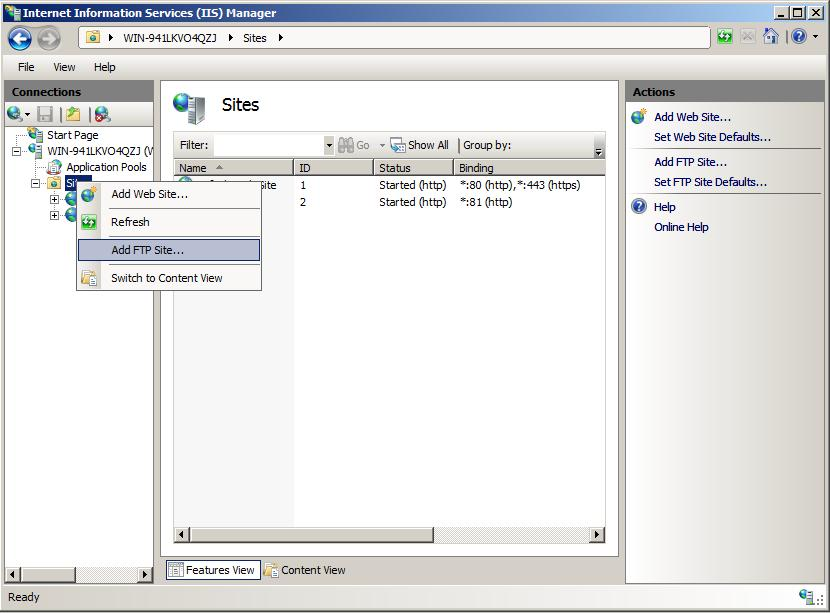 creating-a-new-ftp-site-in-iis-7-301-adding ftp to a web site - figure 1